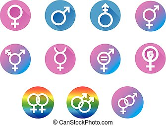 Gender Flat icon Set - Set of vector graphic flat icon...