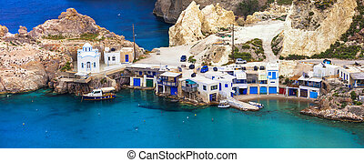 beautiful Greek islands - Milos, traditional Fyropotamos...