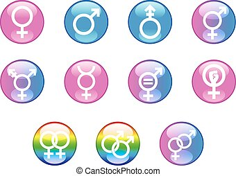 Gender Glossy Icon Set - Set of vector graphic glossy button...