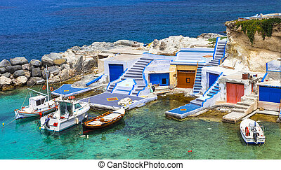 traditional Greece series- fishing boats on Milos island -...