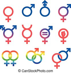 Gender Symbol Set - Set of vector graphic flat icon images...