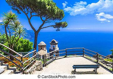 beautiful Ravello village, view with church. Amalfi coast,...