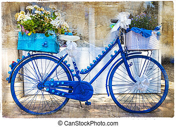 charming streets of italy.Floral bikes, artistic vintage...
