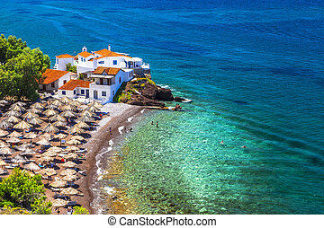 beautiful beaches of Greece-Vlychos on Hydra island - Hydra...