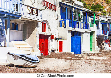 traditional fishing village Klima, Milos island - Beautiful...