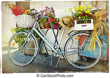vintage card with bike and flowers - Bike And...