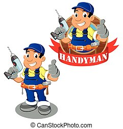 Handyman worker cartoon