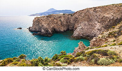 beautiful beaches of Greece - Fyriplaka, Milos island -...