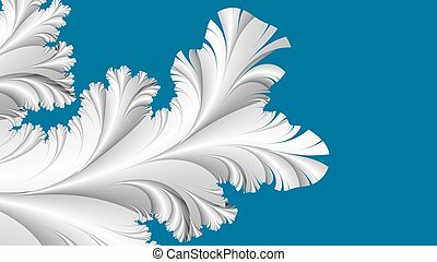 White frost on blue abstract fractal background - Digitally...