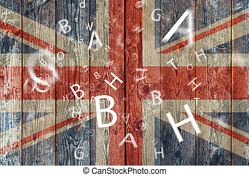 The British flag and letters Concept learning english...