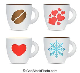 Coffee Cup Set Isolated on White Background Photo-Realistic...