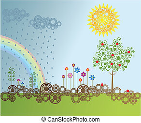 Retro style garden vector illustration