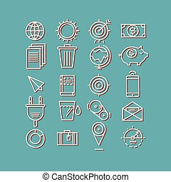 Hand drawn icons. concept business web media seo marketing engine optimization site.