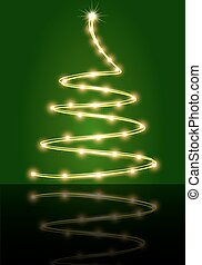 Abstract Christmas tree on the green background, vector art...
