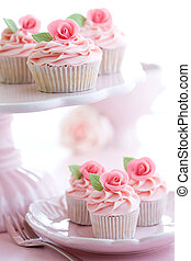 Afternoon tea - Rosebud cupcakes served on a pink cakestand