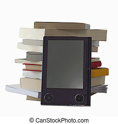 eBook and books - eBook reader over a pile of books,...