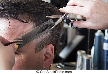 Barber cuts hair of handsome satisfied client. - Barber cuts...