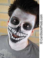 Portrait of a creepy skeleton guy (Carnival face painting) -...