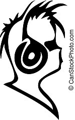 Silhouette of the person listening to music - Black...