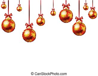 Red decoration on the Christmas holiday, vector art...