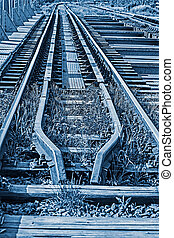 Railway junction in blue background 3 - Railway junction in...