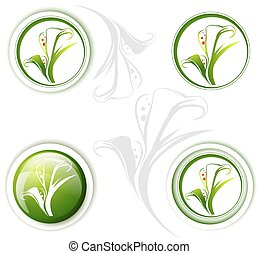 Calla Lily Flower Icon Set - Calla Lily Flower Icon Design...