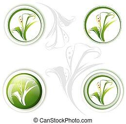 Calla Lily Flower Icon Set - Calla Lily Flower Icon Design...