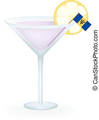 Barbados Cocktail - Cocktail with a flag of Barbados.