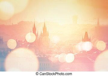 Prague cityscape on misty morning, Retro Toned - Beautiful...