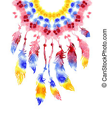 Watercolor hand drawn Dreamcatcher with bird feathers....
