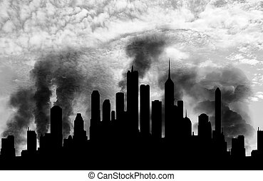 Silhouette of the city in smoke - Concept of a terrorist...