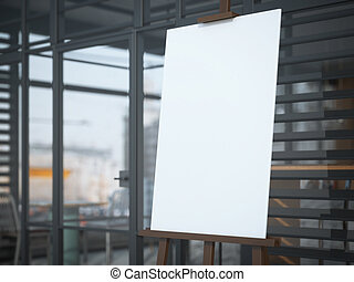Wooden easel with a blank white canvas in modern cafe.