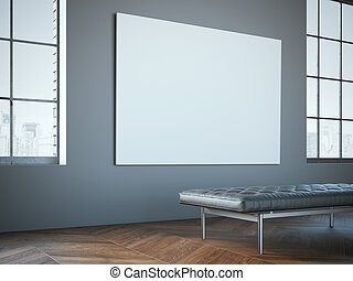 Big white canvas in the gallery with leather chaise-longue...