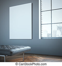 Blank white canvas in the gallery with leather chaise-longue...