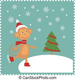 Snowmobile - Monkey skates on snow. Christmas cute card of...