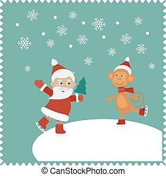 Snowmobile - Santa and monkey skates on snow. Christmas cute...