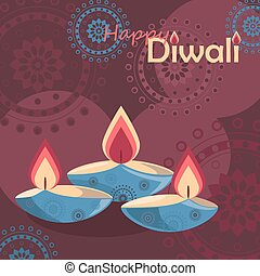 Three burning diya on Diwali Holiday background