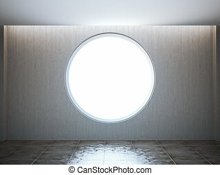 Empty round window in the loft interior. 3d rendering