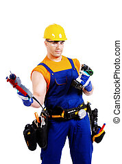 constructor - Portrait of an industrial worker posing with...