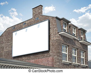 Blank billboard hanging on the classic building - Blank...