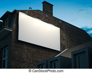 Blank billboard hanging on classic building in the night. 3d...