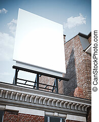 Blank vertical billboard standing on the classic building -...