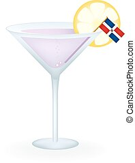 Dominican Republic Cocktail - Cocktail with a flag of the...