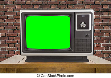 Old Television and Chroma Key Green Screen and Brick Wall -...