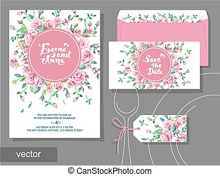 Vector set of invitation cards with illustration of flowers,...