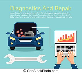 Auto mechanic service Vector flat illustration