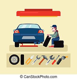 Auto mechanic service. Vector flat illustration