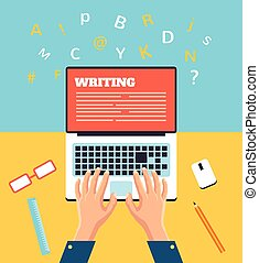 Hand typing on laptop. Vector flat illustration
