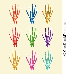 Hand bones Vector flat icon illustration colorful set