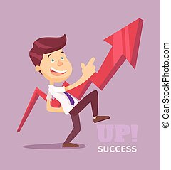Businessman pointing up arrow Vector flat illustration